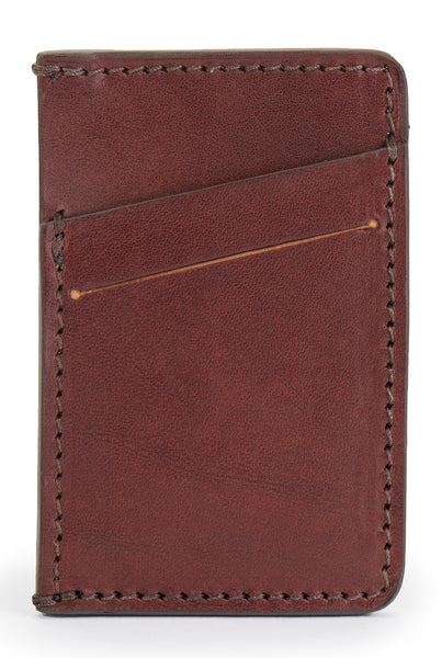 full grain leather minimalist wallet front empty pictured in vintage brown