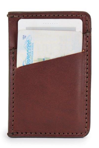 full grain leather minimalist wallet 6 cards vintage brown