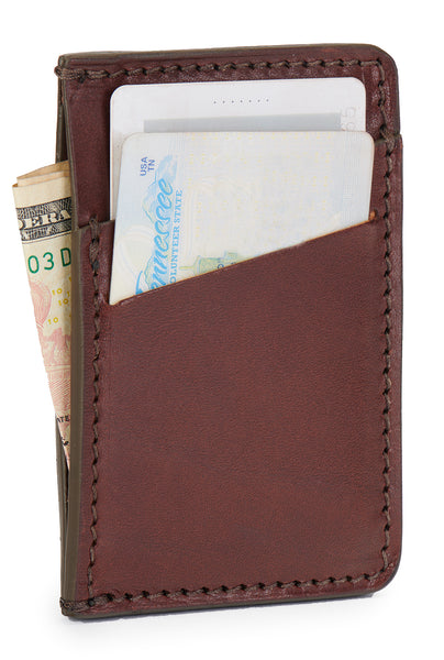 Jackson Wayne minimalist wallet full grain vegetable tanned leather in vintage brown color