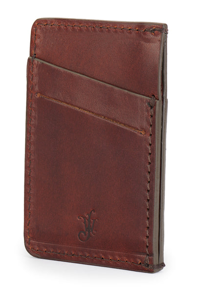 vegetable tanned bridle leather minimalist wallet back angle empty pictured in vintage brown