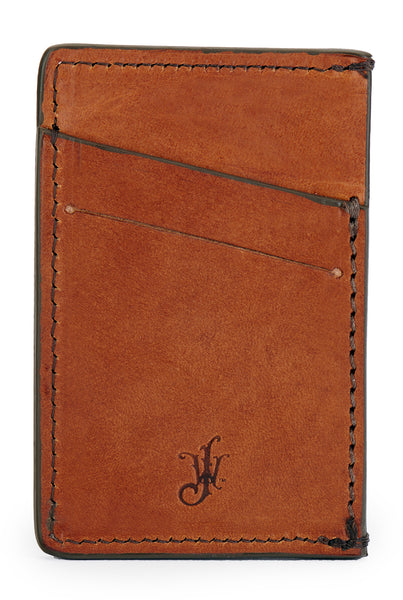 vegetable tanned bridle leather minimalist wallet back empty pictured in saddle tan