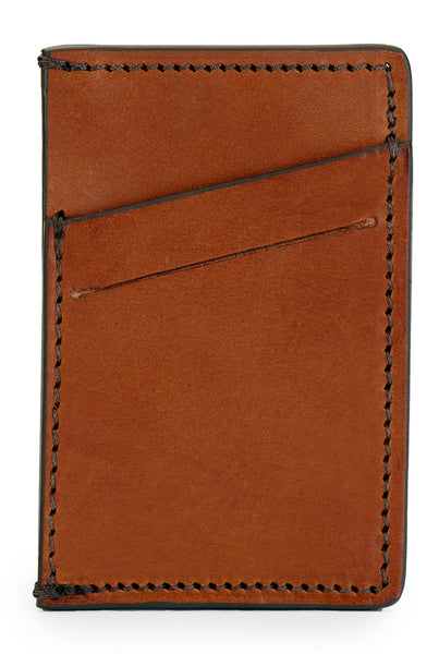 full grain leather minimalist wallet front empty pictured in saddle tan