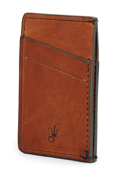 full grain leather minimalist wallet back angle empty pictured in saddle tan