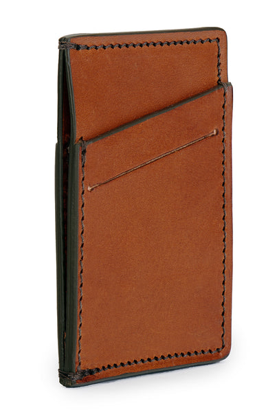 full grain leather minimalist wallet angle empty pictured in saddle tan