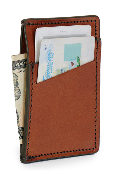minimalist wallet in full grain vegetable tanned leather saddle tan color angle