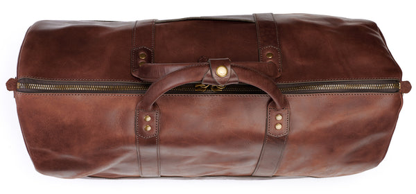 handle keeper on big sur duffle bag vintage brown color