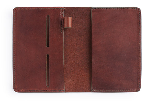 leather passport cover in full grain vegetable tanned bridle leather by Jackson Wayne vintage brown color