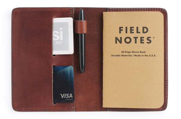 Full grain vegetable tanned leather field notes cover journal in vintage brown with credit card wallet