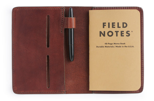 Full grain vegetable tanned leather field notes cover journal in vintage brown by Jackson Wayne