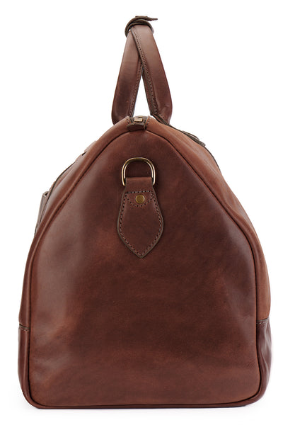 side of vintage brown leather duffle bag