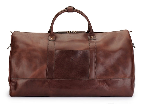 back of full grain bridle leather weekender bag in vintage brown color by Jackson Wayne