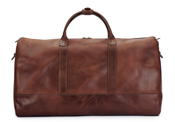 Jackson Wayne full grain leather duffle bag in vintage brown front