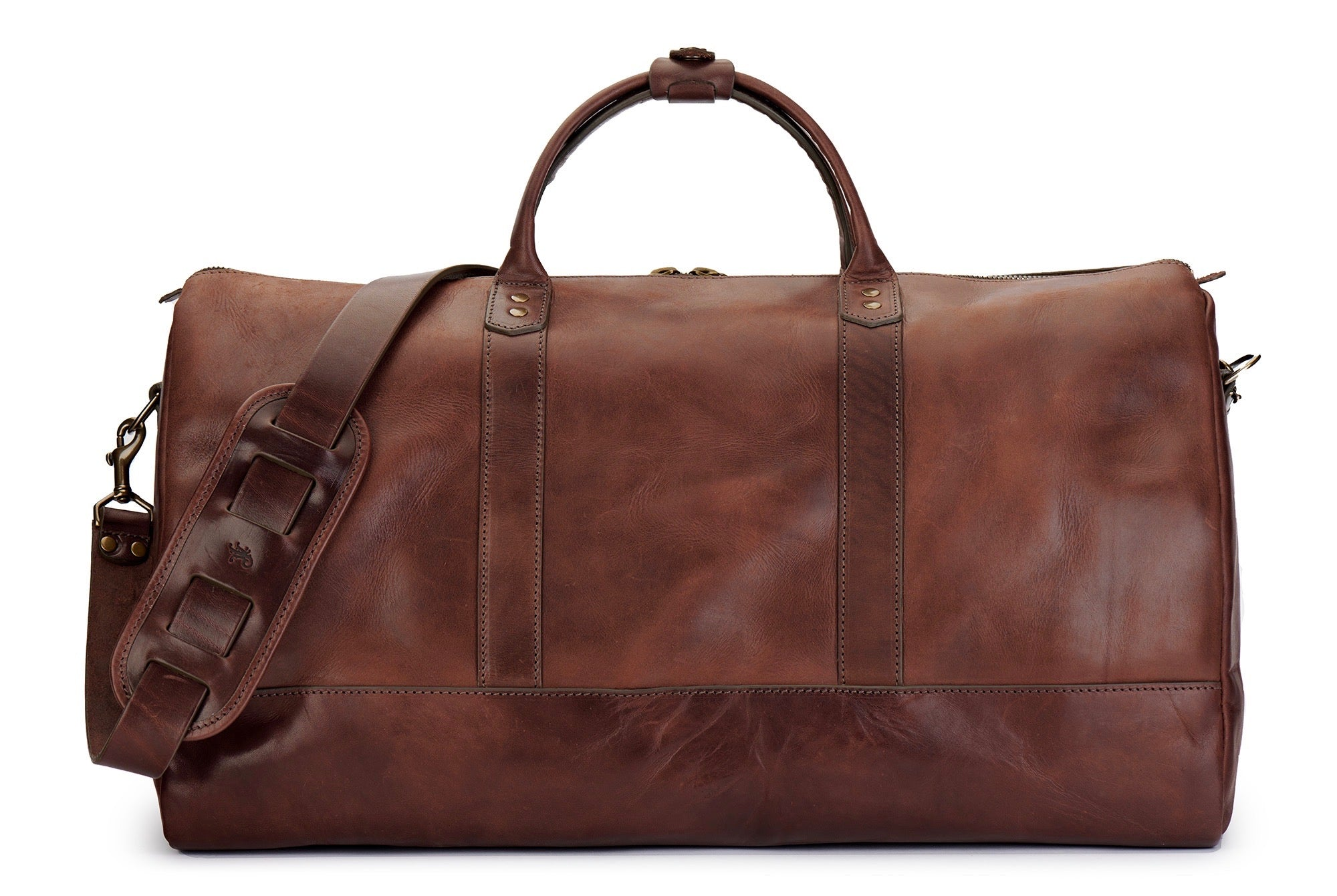 Leather Duffel Bag Vegetable Tanned Leather WWII Duffel Full Grain Leather