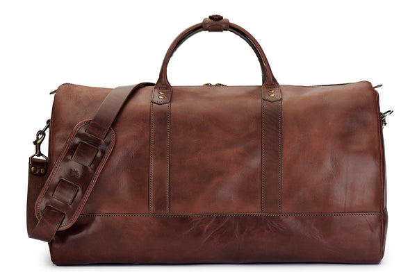 main featured image of Jackson Wayne Big Sur full grain vegetable tanned bridle leather duffle bag in vintage brown