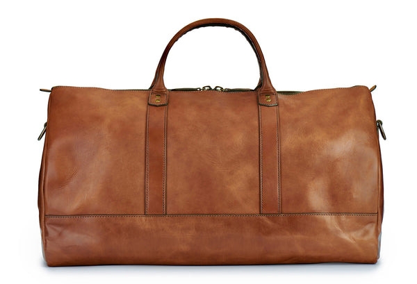 Jackson Wayne full grain leather duffle bag in saddle tan front
