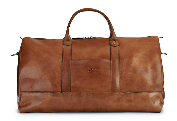 full grain bridle leather duffle bag back in saddle tan by Jackson Wayne