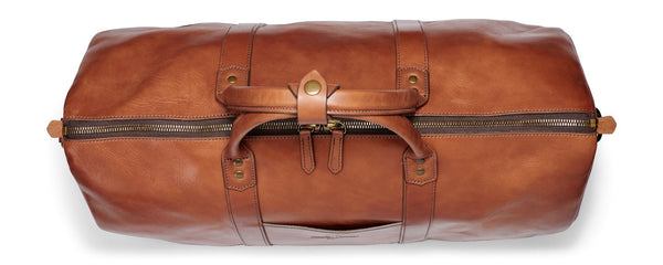 top view of Jackson Wayne Big Sur leather duffle bag - bridle leather saddle tan