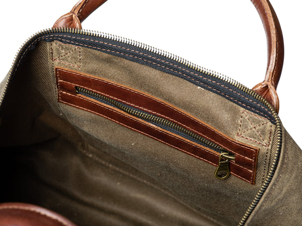 heavy duty american made zipper pocket on leather waxed canvas weekender