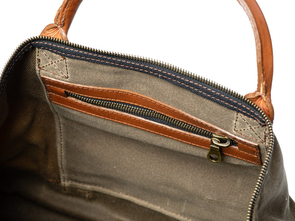 american made zipper pocket inside waxed canvas leather weekender