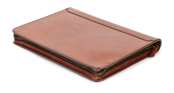 zip around leather portfolio pad folio in full grain leather
