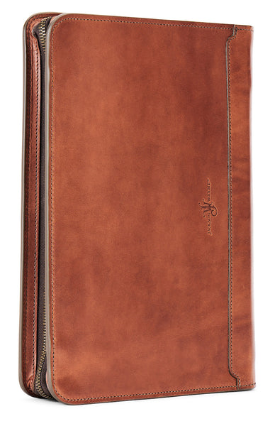vegetable tanned leather pad folio in saddle tan color by jackson wayne