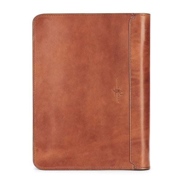 full grain leather padfolio by jackson wayne in saddle tan color