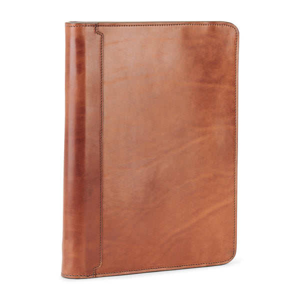 vegetable tanned leather portfolio in saddle tan color