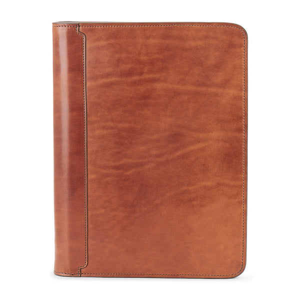 full grain leather portfolio by jackson wayne in saddle tan color