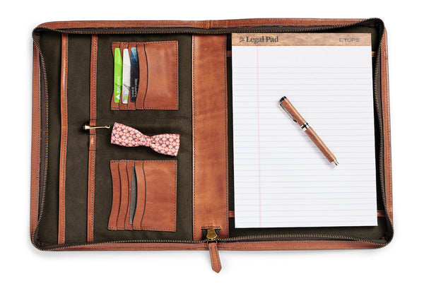 inside full of leather portfolio by jackson wayne - vegetable tanned leather and canvas