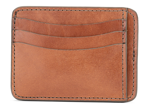 jackson wayne full grain vegetable tanned leather slim wallet in saddle tan
