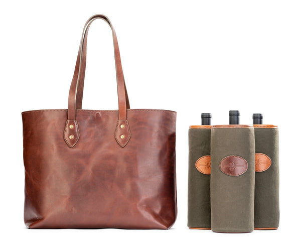 leather wine tote bag by Jackson Wayne - removable padded bottle holders