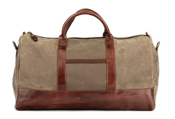 waxed canvas twill leather weekender bag in vintage brown (back)