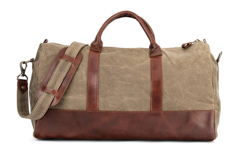 brown leather & tan waxed canvas weekender bag