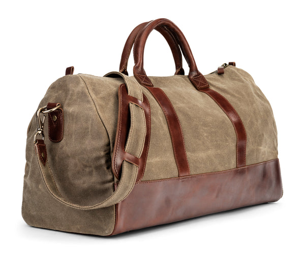 waxed canvas twill leather weekender bag in vintage brown (side angle)