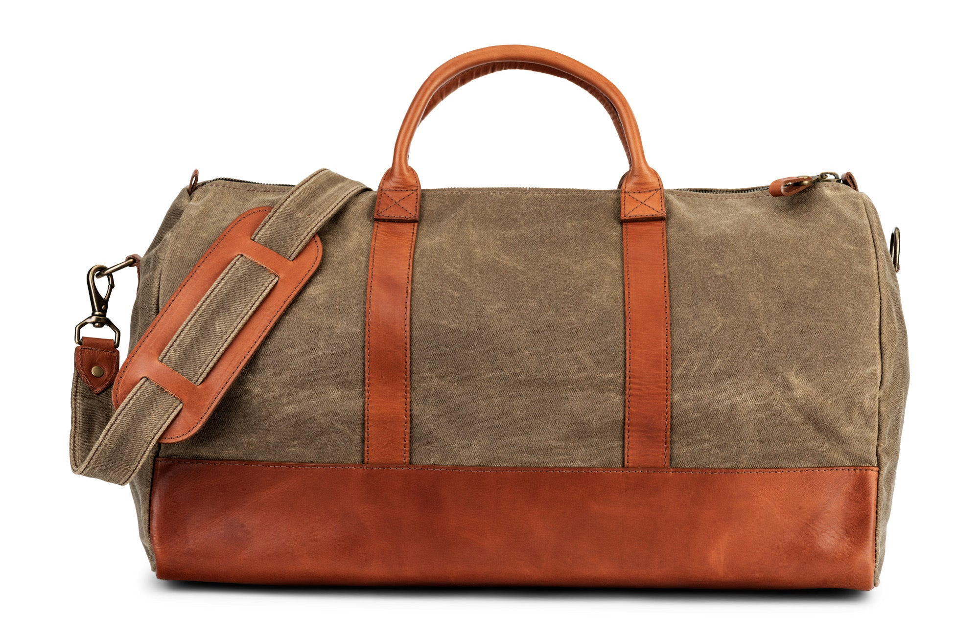 617378354 jackson wayne leather waxed canvas twill weave weekender travel duffle bag  in saddle tan made in ...