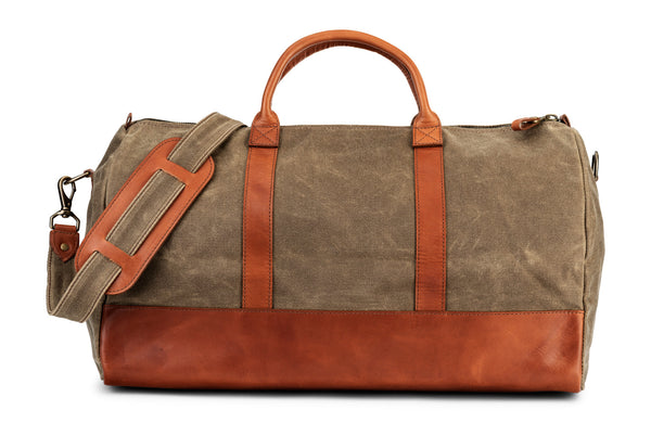 jackson wayne leather waxed canvas twill weave weekender travel duffle bag in saddle tan made in usa