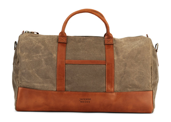waxed canvas twill leather weekender bag in saddle tan (back)