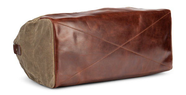 waxed canvas twill leather weekender bag in vintage brown (bottom)