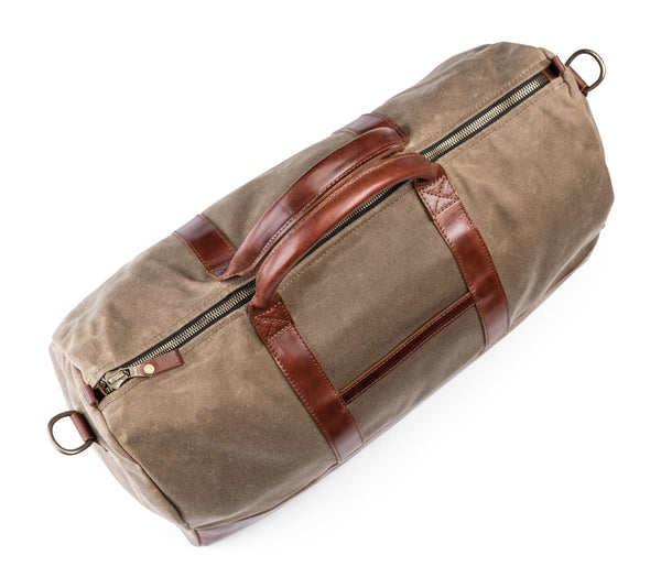 top view of jackson wayne waxed canvas twill leather weekender duffel
