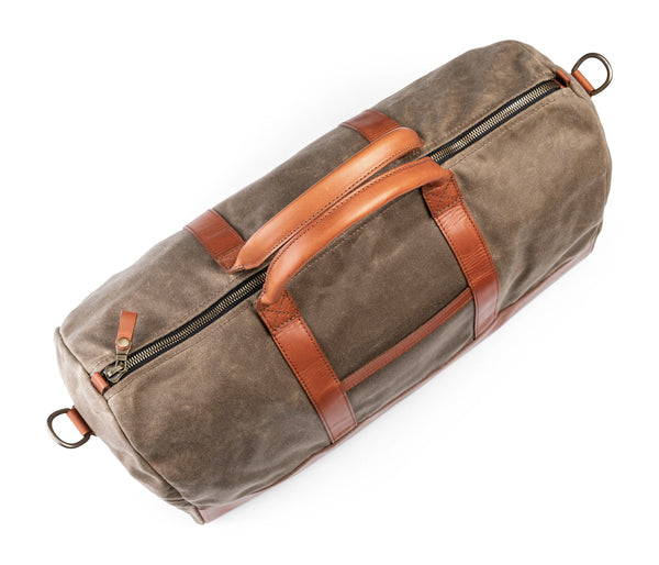 top of jackson wayne leather waxed canvas weekender bag in saddle tan