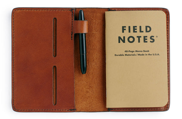 Full grain leather field notes cover journal in saddle tan with pen holder