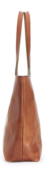 side view of franklin market tote in saddle tan