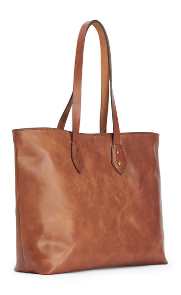 franklin market tote bag in saddle tan full grain leather