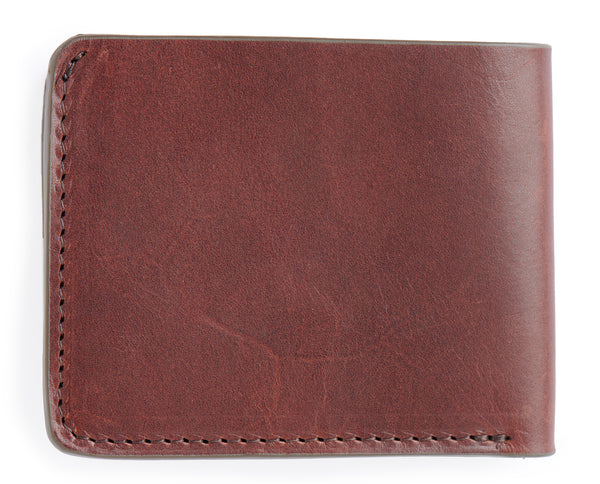 full grain veg tanned leather billfold wallet vintage brown color