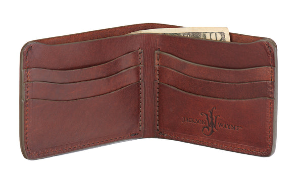 bridle leather bifold wallet for men by Jackson Wayne