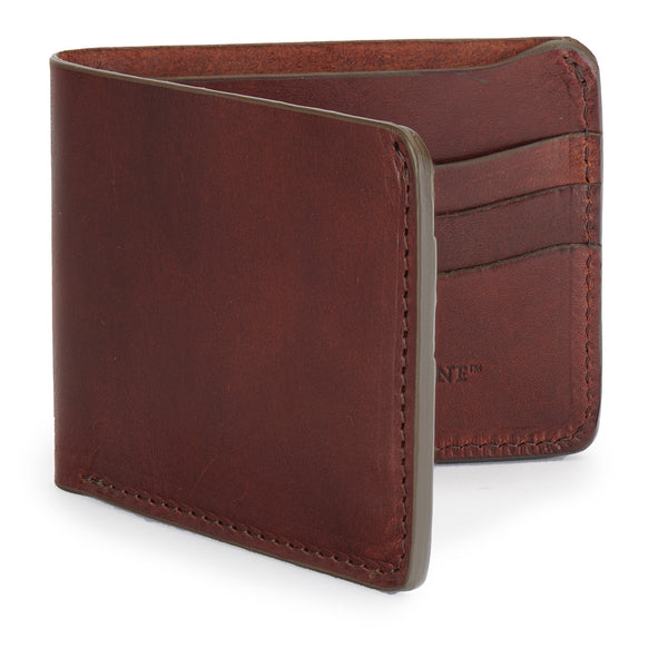 full grain bridle leather bifold wallet by Jackson Wayne in vintage brown leather color