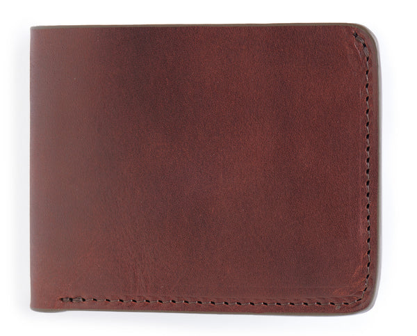 vegetable tanned bifold leather wallet in vintage brown color