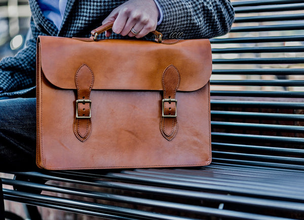Full grain leather attache laptop case & slim briefcase for men in saddle tan color