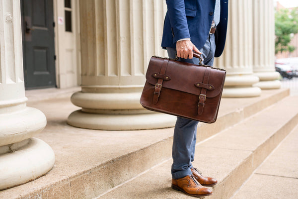 Esq. Briefcase by Jackson Wayne in full grain leather vintage brown