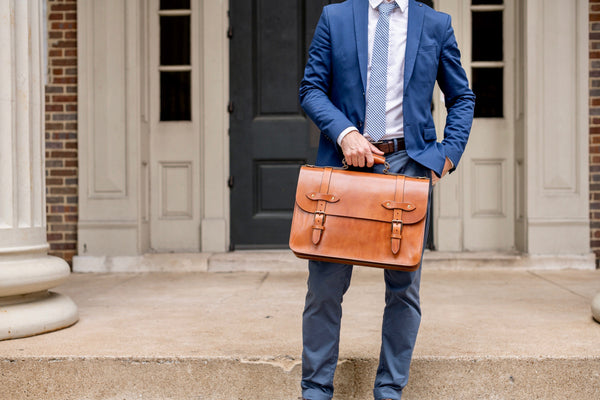 full grain vegetable tanned leather flap briefcase by jackson wayne in saddle tan